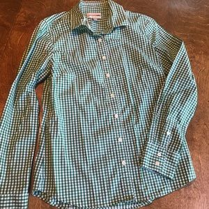 J. Crew True Green Gingham Button Down Top